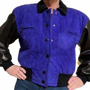 Escada size 10 leather varsity jacket